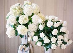 White Flowers and Roses for Emerald Green Wedding Theme
