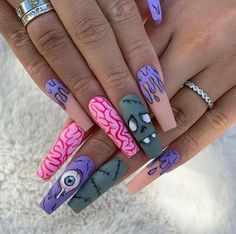 Disney Acrylic Nails, Halloween Acrylic Nails, Acrylic Nails Coffin Short, Best Acrylic Nails, Acrylic Nail Designs, Coffin Nails, Exotic Nail Designs, Dope Nail Designs, Goth Nails