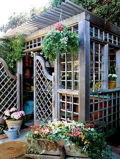 Garden shed with galvanized roof.  I would sit in here in the rain with a good book.