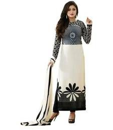 Buy Cream printed Polyester unstitched salwar with dupatta dress-material online