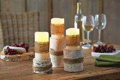 Birch LED Candle Holders