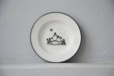 Black and White Nature Wall Decor, Hand Painted Mountains and Wilderness Wall Plate, Travel Decor, Nursery Decor, Repurposed Aluminum Plate by sarahreimerdesigns on Etsy