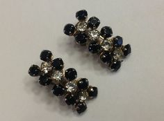 Black Glass & Clear Rhinestone Clip On by SweetBettysBling on Etsy, $22.00