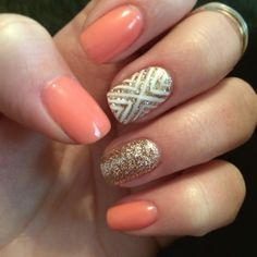 Nails! Peach and gold gel nails with glitter and design