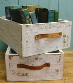 Old drawers repurposed for storage. I want these to put on our open shelves in the nursery.