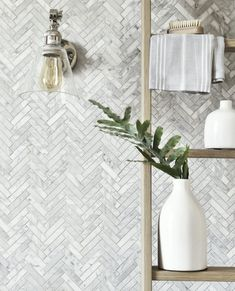 Carrara marble wall and floor tiles distinguish this luxurious and elegant white… – Marble Bathroom Dreams Marble Herringbone Tile, Carrara Marble, Backsplash Marble, Marble Tiles, Tiling, Marble Bathroom Floor, Bathroom Flooring, Marble Bathrooms, Bathroom Cabinets