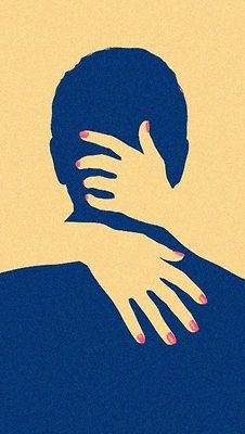 This poster uses negative space to create a image. The artist also uses pink nails to show that it is actually a woman.