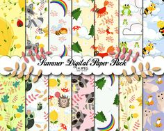 Popular Summer Digital Paper Pack, Animals Patterns, Scrapbooking Paper, Summer background, Party Paper Pack, Summer party, Instant download