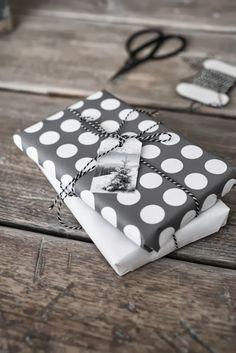 silver . white dots . gift wrap