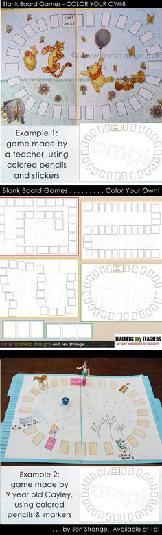 This set includes everything you need to CREATE YOUR OWN file folder format Board Games! There are four different board game designs in this set. Teachers can use these to create a board game with any theme they can draw or find stickers for. These games are great for student use, anything from group projects, a fun activity for early finishers, home-schoolers, or your creative kids just itching to make something! #filefoldergame #education