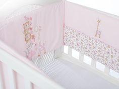 Buddy Pamuklu Nakışlı Bebe Yatak Koruma 210x40 Pembe - Beşik Koruyucu