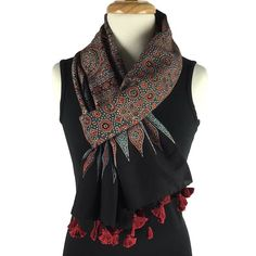 Block Print Scarf in Traditional Ajrakh Design - red