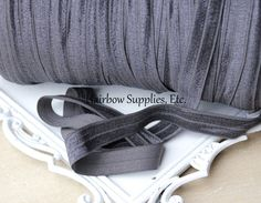 Charcoal Fold Over Elastic 5 yd 5/8 inch FOE by HairbowSuppliesEtc