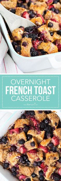 Overnight french toast casserole topped with a brown sugar crumb topping and berries. A delicious spin on french toast and perfect for holiday gatherings or Sunday brunch!