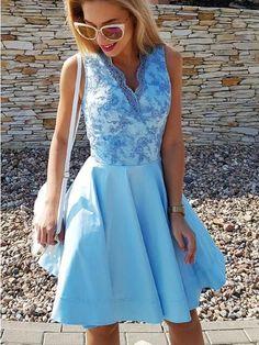 Sexy Homecoming Dress V-neck Satin Lace Short Prom Dress Party Dress JK555