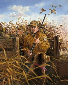 Mallards are approaching the blind but the boy and his Dad are looking out front Image Size x Hunting Art, Duck Hunting, Hunting Dogs, Wildlife Paintings, Wildlife Art, Outdoor Art, Outdoor Life, Hunting Drawings, Hunting Magazines