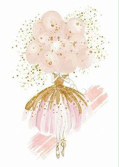 Ballerina and balloons Pink Wallpaper, Wallpaper Backgrounds, Iphone Wallpaper, Vintage Clipart, Birthday Wishes, Happy Birthday, Ballerina Art, Instagram Frame, Baby Art