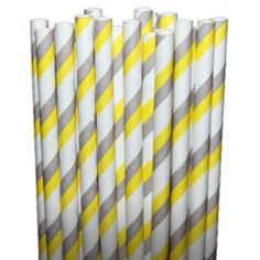 Stripe Gray/Yellow Paper Party Straws-- omg perfect! these are my wedding colors!!!