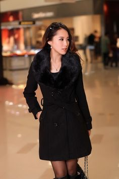 2014 autumn and winter slim outerwear medium long thick woolen outerwear female woolen overcoat large fur collar outerwear plus-inWool & Blends from Women's Clothing & Accessories on Aliexpress.com | Alibaba Group