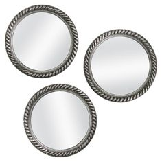 Threshold™ Rope Mirror 3 Pack - these remind me of portholes in a nautical bathroom or something Next Mirrors, Mirrors For Sale, Round Mirrors, Circle Mirrors, Leaning Floor Mirror, Rope Mirror, Dresser With Mirror, Starburst Mirror, Vintage Mirrors