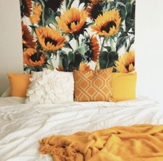 Load image into Gallery viewer, Summer Flower Tapestry - Tapestry Girls My New Room, My Room, Dorm Room, Grand Litier, Sunflower Room, Sunflower Design, Sunflower Flower, Sunflower Home Decor, Aesthetic Bedroom
