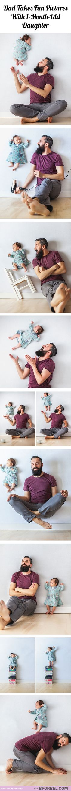 Dad takes fun pictures with one-month-old daughter