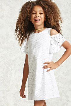 Forever 21 Girls - A semi-sheer floral crochet knit dress featuring an open-shoulder design, short elasticized ruffle sleeves, an exposed back zipper, interior lining, and a flowy silhouette.