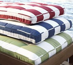 Browse Pottery Barn's selection of outdoor and patio furniture cushions. Find outdoor furniture cushions in durable Sunbrella fabrics and classic colors. Outdoor Chaise Cushions, Adirondack Chair Cushions, Patio Furniture Cushions, Outdoor Furniture, Cottage Furniture, Outdoor Seating, Rugs On Carpet, Carpets, Bed Pillows