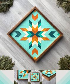 Colorful wooden barn quilt featuring a star quilt block pattern in turquoise, teal, orange, & off-white colors. This framed wood wall hanging is perfect for adding color, texture, & design to any wall space in your home. Brighten any room with this handcrafted wood wall art. The geometric pattern is handmade with premium cedar & each wood cutout of the design is hand painted and distressed. Ideal for any rustic farmhouse, log cabin, cozy cottage, beach house, or southwestern inspired decor.