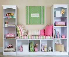 This unit is made using three bookshelves. The bottom piece is just turned horizontal. This would be great in a child's room, mud/laundry room or even a family room/teenager hangout with the TV hanging over the bench part. It would also look good & be great storage in a small apartment. Make sure to attach the tall vertical units to the horizontal one to keep them together tightly and that you'll need a piece of wood the same color to go across the bench. It's pretty & functional.