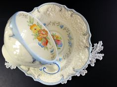 Antique Crown Ducal Teacup, Tea Cup and Saucer, Embossed China 13195 - The Vintage Teacup - 1