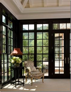 """dark frames are great for bright rooms because they recede and demand little attention for our eyes as we take in the room and the view."""" (Eve Ashcraft)"""