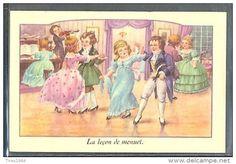 PC181 La Leçon De MENUET COUPLES D'ENFANTS DANSE Belle FANTAISIE Illustrée - Illustrateurs & Photographes