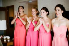 bridesmaid dress's in different shades - perfect to achieve a subtle ombre effect
