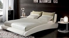 Cadillac King White Leather Platform Bed by Zuri Furniture ** You can find out more details at the link of the image.