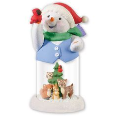 """WARMED BY FRIENDSHIP - Waterless globe inspired by the popular Snow  Buddies series. Features the series' snowman and animal buddies from early ornaments in the series. Artist crafted. By Tammy Haddix. 6¾"""" h. $29.95 USA  QXC5063"""