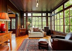 LOVE this room, it feels like the Lake House I've always wanted/perfect place to turn on some cozy lights and entertain at night. . . So Great! For Sale: A Grand Craftsman with Three Stories in Portland Hooked on Houses