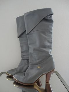 70's Vintage Elephant Gray High Heeled Leather Boot. $45.00, via Etsy.