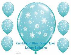 Snowflake Latex Balloons Christmas Float Party Decor Bouquet Gift Caribbean Blue #Qualatex #BirthdayChristmasWinterWedding