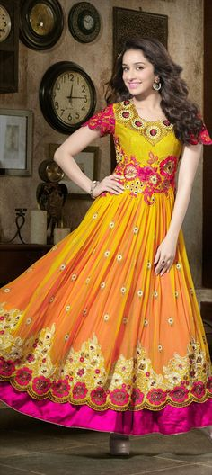 Celebrity Style Salwar Kameez - #Shraddha Kapoor wear Double-skirt #anarkali with confidence. #Get This Look #Bollywood