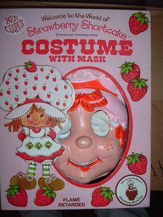 Vintage 1980s STRAWBERRY SHORTCAKE Costume & Mask -