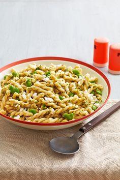 Fava-Bean Pasta Salad with Garlic-Scape Pesto  - CountryLiving.com