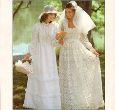 Vintage 70s PDF Crochet Wedding Dress Knitting by scarlettess