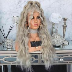EEWIGS Loose Wave Wig Density Glueless Platinum Blonde Lace Front Wig Heat Resistant Sliver Hair With Ponytail for Women Blonde Ombre Short Hair, Blonde Bob With Bangs, Blonde With Dark Roots, Brown Hair With Blonde Highlights, Blonde Lace Front Wigs, Ash Blonde, Ombre Hair, Sandy Hair Color, Synthetic Lace Wigs