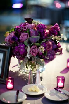 All purple centerpiece. This will be the colors combinations of purple we will use for the wreaths.