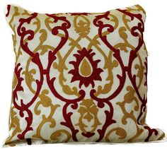 """Jacquard Damask Pillow Covers, 18"""" X 18"""", Set of 2 (Red"""