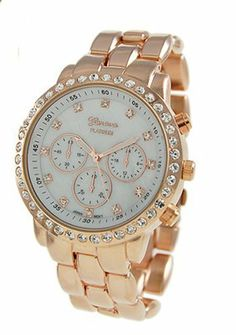 Geneva Faux Chronograph Mother of Pearl Watch-Rose Gold Geneva. $16.00. CZ encircled face. Fold over push clasp. Save 56% Off!
