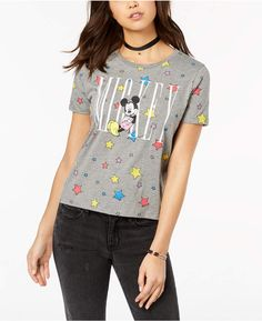 3578a6e8b3b Mighty Fine Juniors  Mickey Mouse Star Graphic Boyfriend T-Shirt Juniors -  Tops - Macy s