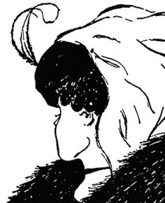 Which one do you see- an old woman in a scarf with her head tilted downward, or a young woman's profile, with her face tilted to the back? Or both?