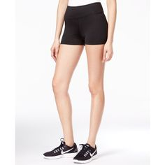 Jessica Simpson The Warm Up Active Compression Shorts, ($15) ❤ liked on Polyvore featuring activewear, activewear shorts, jet black and jessica simpson sportswear